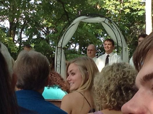 Christian's first glimpse of his bride walking down the aisle